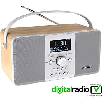 AZATOM Multiplex DAB Digital FM Radio Bluetooth Battery Alarm Clock - Bluetooth - Stereo Speaker System - Dual Alarm - Clock Radio - Rechargable Battery - USB Charging - Premium Stereo Sound (Light Oak)