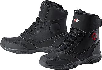 DXR Motorrad-Stiefel kurz Motorrad-Schuh Motorradschuhe Herren, Damen & Kinder, Motorradstiefel mit rutschfester Funktionssohle, Knöchelabdeckung, atmungsaktives Futter, schwarz