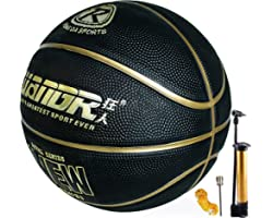 Senston Basketball Size 7 with Pump Indoor Outdoor Rubber Basketball for Kids & Mens, Street Basketball Ball