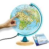 Interkart Kinder-Globus - 25cm Globus mit Holzfuß, Deutsches Kartenbild von 2021 mit vielen Abbildungen für Kinder mit LED Le