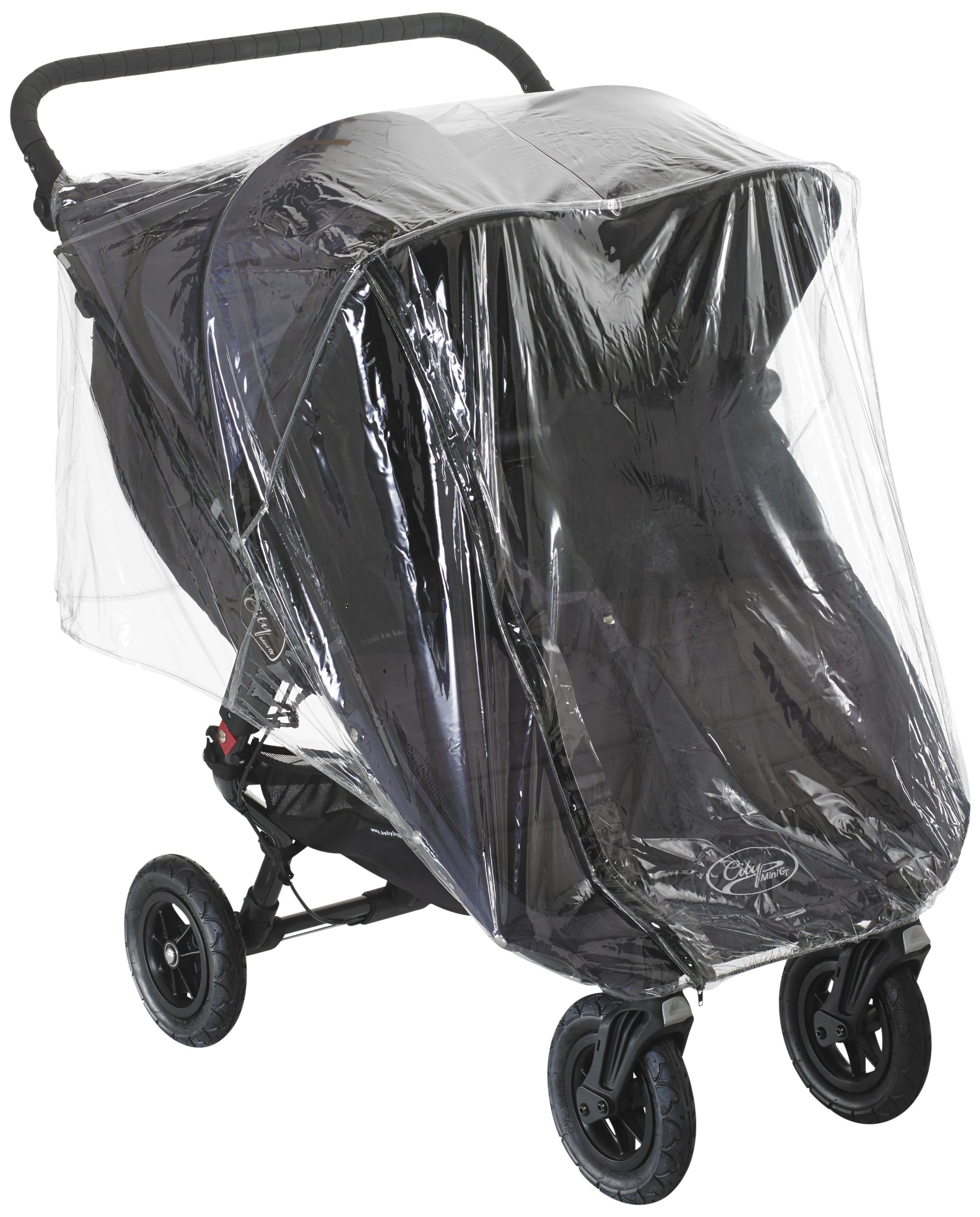 Baby Jogger Raincover GT/ Mini Double Inc. Carrycot  The raincover fits the Baby Jogger City MiniDouble and City Mini GT double strollers, even when in carrycot mode when using the pushchair with either one or two Baby Jogger compact carrycots Multiple small air holes allow proper ventilation to provide a dry, safe environment; the strong PVC offers protection from both wind and rain The raincover features a zipped panel to allow quick and easy access to the child when in use 1