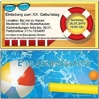 Einladungskarten Zum Geburtstag Einladung Pool Party Feier Garten  Sommerparty 10 Stück Poolparty Schwimmbad Kinder Erwachsene Kindergeburtstag  Gartenfest ...