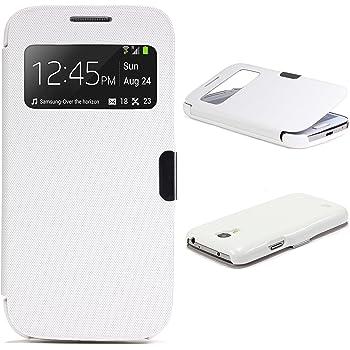 Custodia Galaxy S4 Mini Urcover, Cover portafoglio [Chiusura Magnetica - Finestra S-View] Wallet Case Samsung Galaxy S4 Mini Bianco