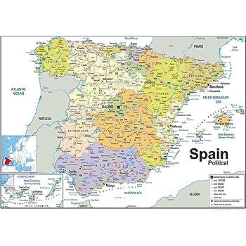 Map Of Spain Eibar.Spain Political Map Paper Laminated A0 Size 84 1 X 118 9 Cm
