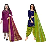 Hanoba Women's Leon Synthetic Unstitched Dress Material Combo Pack of 2