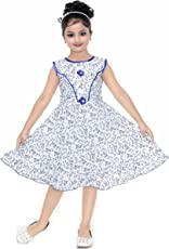 YAYAVAR Girls Cotton Made Floral Printed Blue & White Colored Casual/Party Wear Frock for Girls - Set of 01 from 02-08 Years