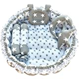 Fabrify Baby Reversible Bedding Set Cum Mattress with 5 Multi Shape Pillows for Newborn to Toddlers (Grey)