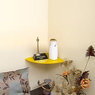 Klaxon Decor Corner Glass Shelf   Wall Shelf   9*9   Yellow