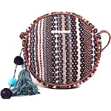 ASTRID Women's Round Sling Bag with Pompoms (Brown)