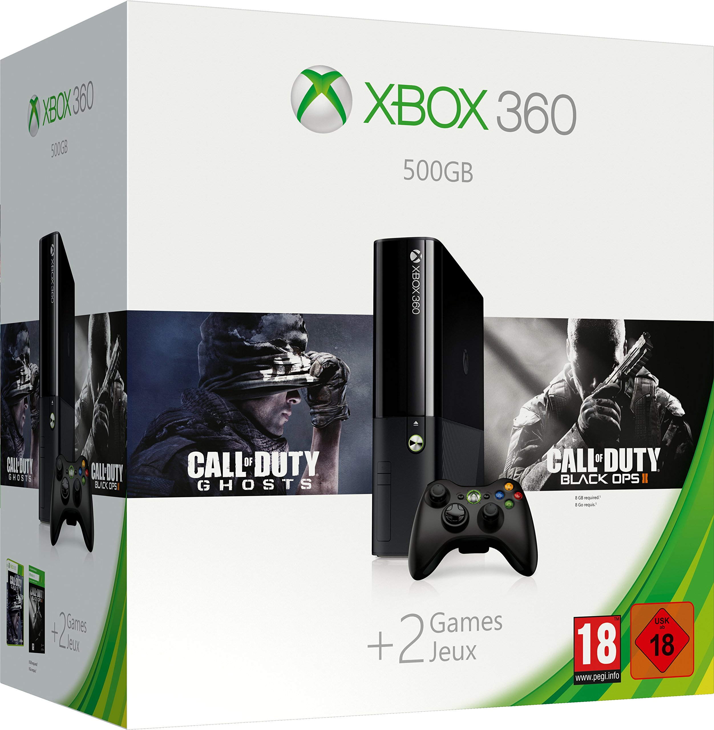 Xbox 360 – 500 GB inkl. Call of Duty Ghosts + Call of Duty Black Ops 2 (DLC) [Importación Alemana]