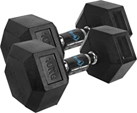Cockatoo Rubber Coated Professional Hex Dumbbells (Pack of Two) ; Hex Dumbbells