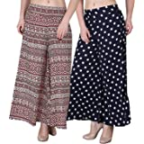 Fablab Women's/Girl's Printed Crepe A-Line wide leg divider Palazzo Trousers with Pocket & Inner Lining Combo Pack of 2(FLPLC