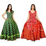 Madanam Women's Cotton Jaipuri Printed Maxi Long Dress (Multicolour, Free Size) Combo pack of 2