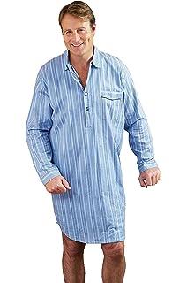 Mens Nightshirts 100/% Cotton Night Shirt Nightwear Buttoned Collar Light Poplin