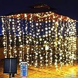 LiyuanQ Solar Curtain Lights Outdoor Garden Fairy Lights 300 LED 8 Modes Remote Control Waterproof Solar Waterfall Fairy Stri