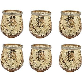 Set von 6 Mercury, Gold, Glas Teelichthalter Candle Votive