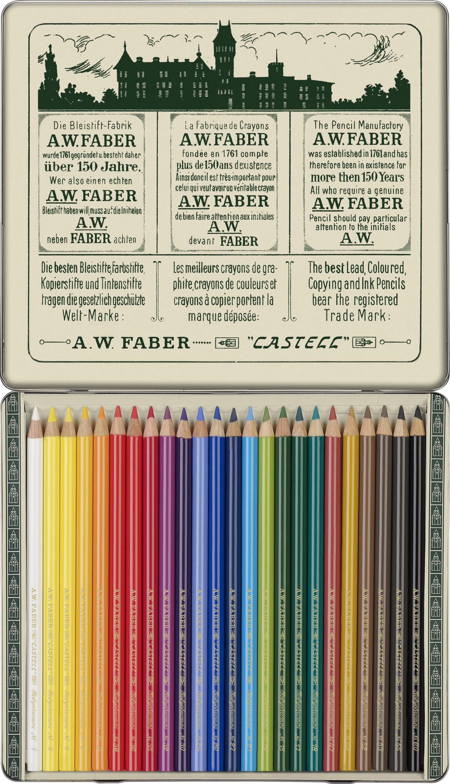 Faber-Castell 211002 – Estuche de metal con 24 lápices de colores Polychromos para artistas edición retro 111 aniversario.
