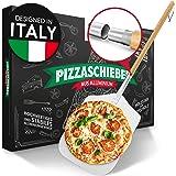 Pizza Divertimento® Paletta per Pizza in Alluminio Inossidabile e Legno di pioppo sostenibile [83 cm di Lunghezza] - Paletta