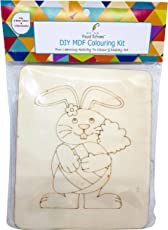 Visual Echoes DIY Rabbit Design Colouring Kit Little Art Gallery - MDF Board with Drawing Outline, Essel, Water Color, and Paint Brushes.