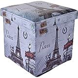 UberLyfe Foldable Ottoman Storage Box Cum Stool - Vintage Paris (OTTO-994)