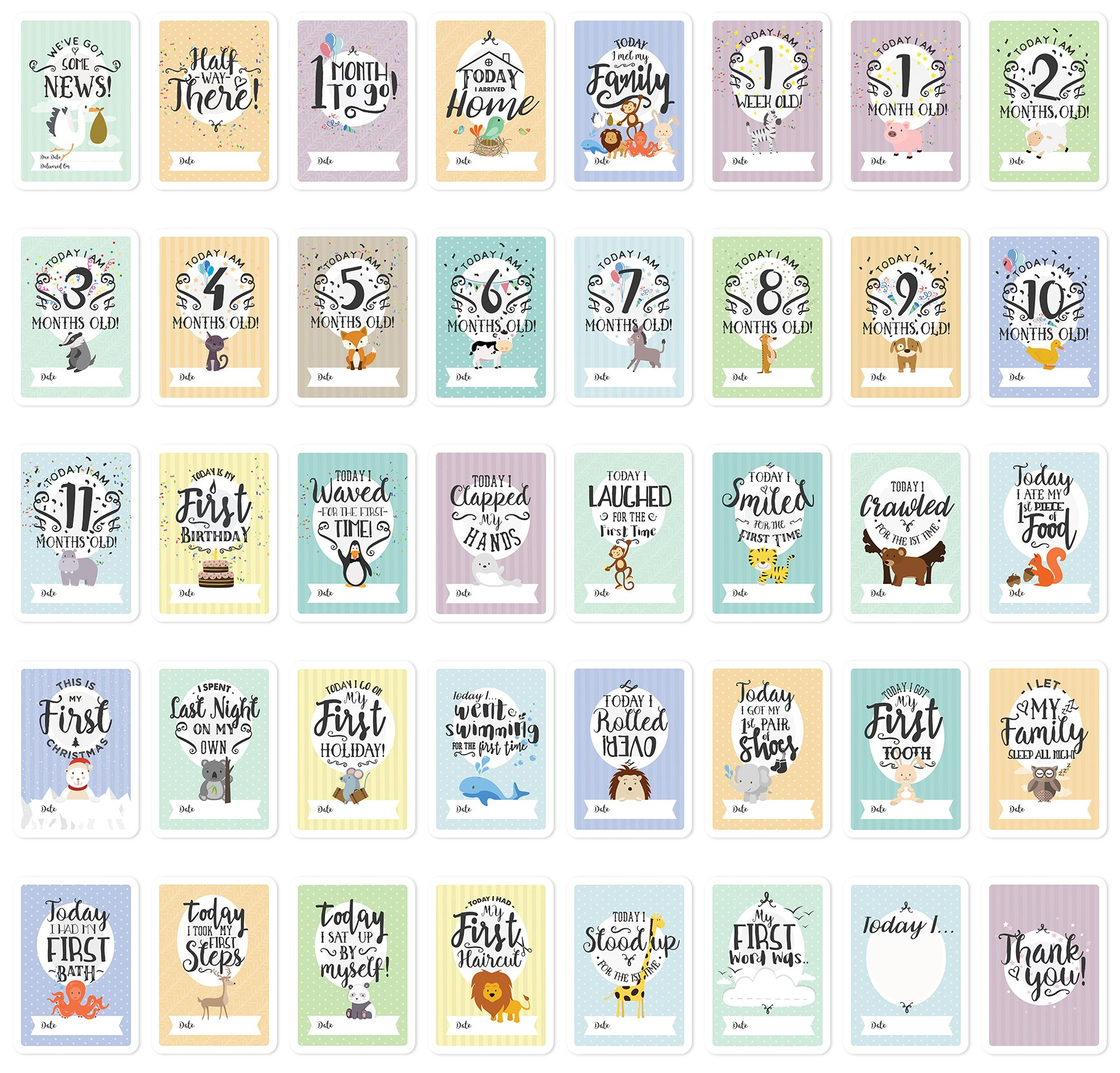Baby Milestone Cards & Keepsake Box – 40 unisex landmark moment photo cards including pregnancy & key age markers– Perfect baby shower gift set with original pastel coloured designs by COZY HEDGEHOG 3