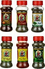 Fressco Nature's Garden Chilli Flakes, Oregano, Basil, Thyme, Peri Peri and Parsley, 245 Grams (Combo of 6)
