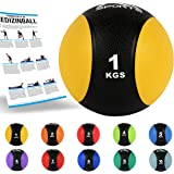 MSPORTS Medizinball 1 – 10 kg – Professionelle Studio-Qualität inkl. Übungsposter Gymnastikbälle