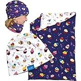 HECKBO® Cappello, Beanie per Bambine + Girocollo | Berretto Reversibile con Cupcake | Taglia unica: 2 – 7 anni | 95% Cotone |