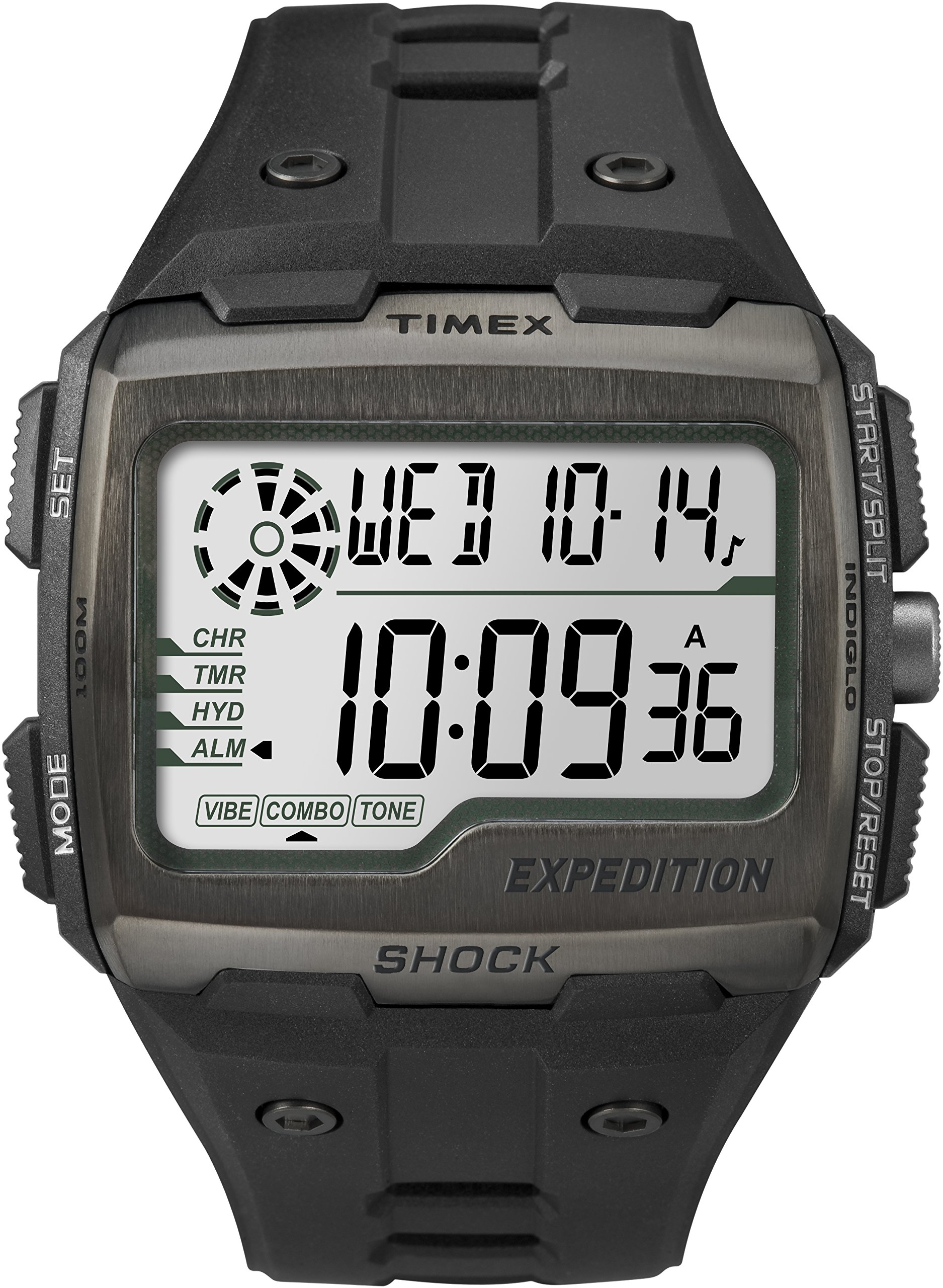 Timex TW4B02500 Men Grid Shock LCD/Black Dial With Black Resin Strap Watch