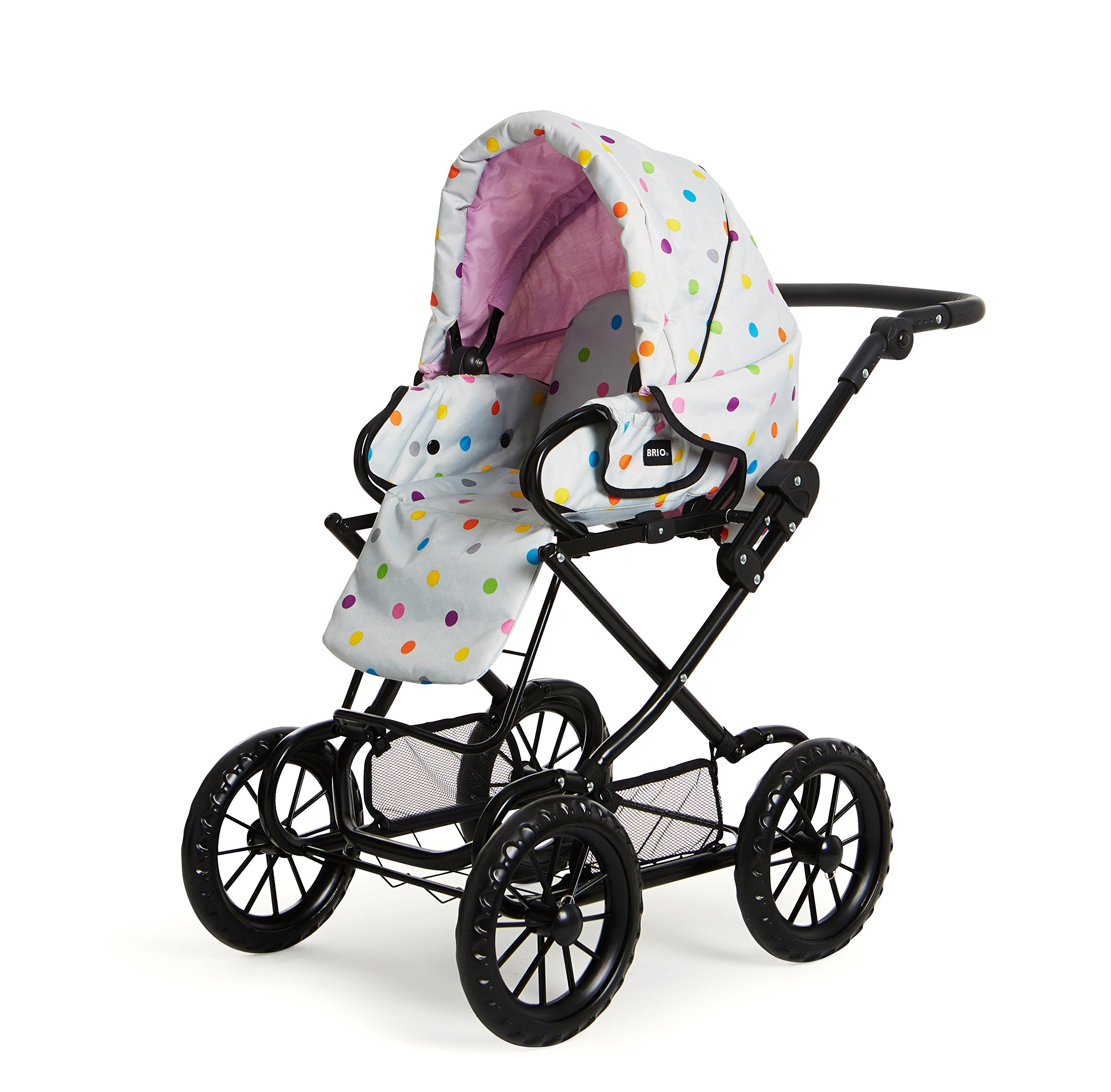 POPPENWAGEN COMBI GRIJS MET ST Ravensburger Combi Doll's Pram in a new design with multi-coloured dots With removable carry bag With adjustable push handle from 44to 79cm 4