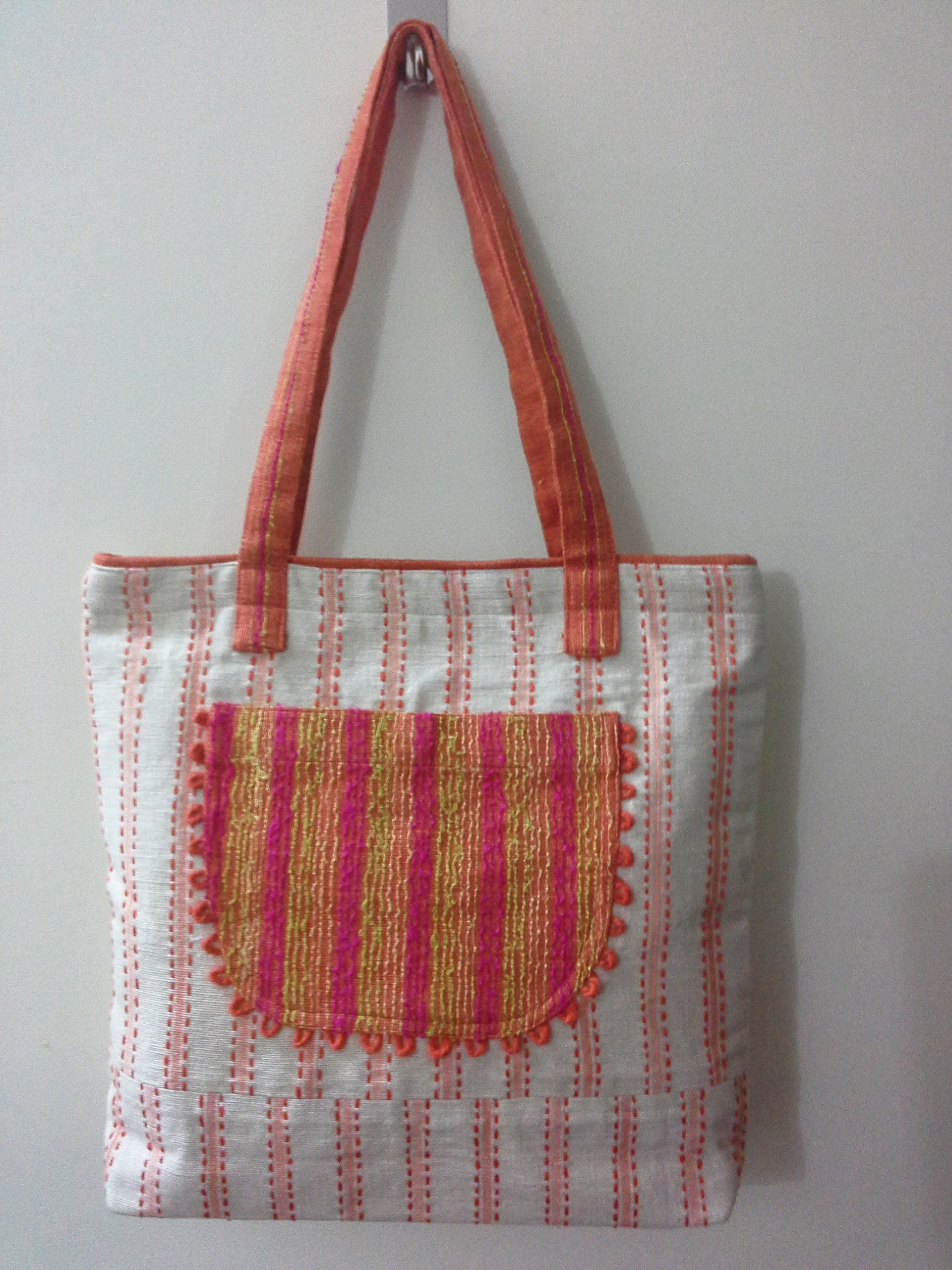 Panigha India Handmade Top Handle Tote Bag/Carry-All HandBag in Stripes made of Cotton Fabric for every day use. - handmade-bags
