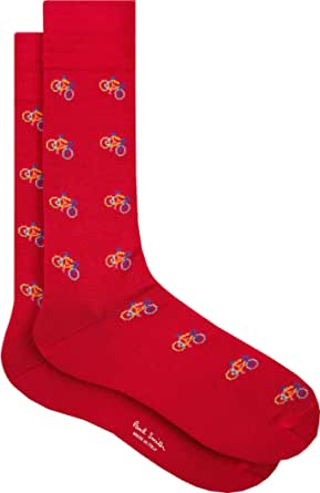 """PAUL SMITH """"Bike"""" Mens Cotton One Size Socks Red with Multicoloured Bicycles"""