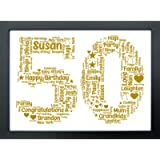 Personalised Birthday Gifts - 50th Birthday Gifts for her Keepsake - Word Art Personalised Gift Print Any Age - Unique…