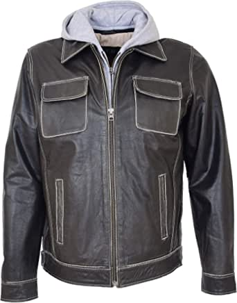 Mens Real Leather Casual Jacket Detachable Hoodie Style Cypher Grey