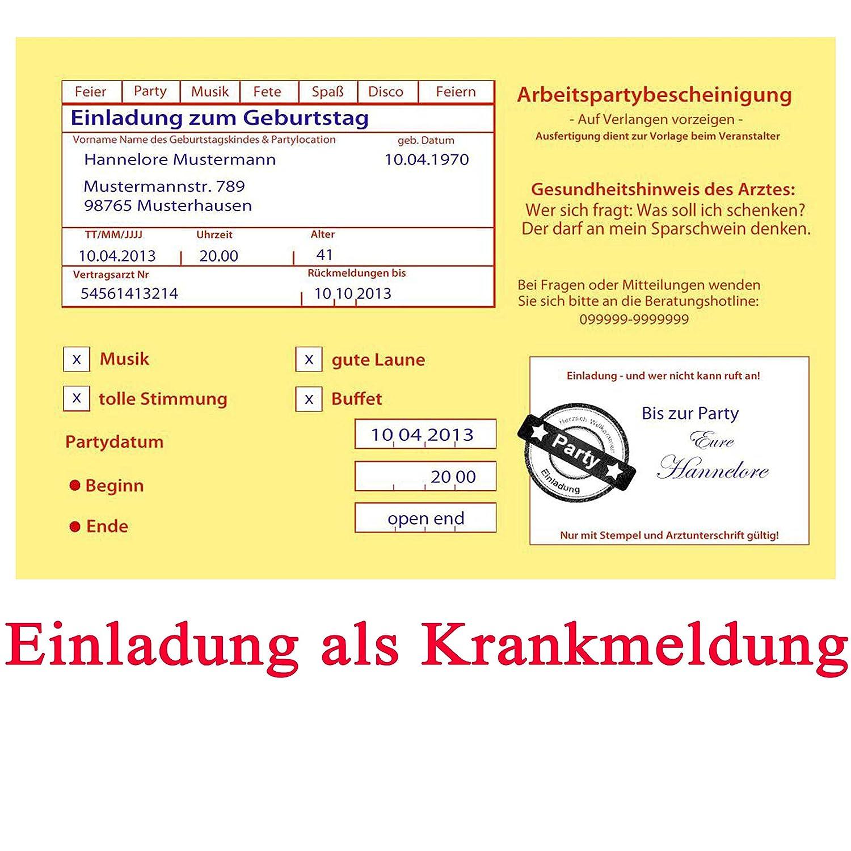 Einladungskarten Zum Geburtstag Motiv: Krankenschein Krankmeldung  Arbeitsunfähigkeitsbescheinigung: Amazon.de: Bürobedarf U0026 Schreibwaren