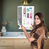 Parasnath White New Look Bathroom Cabinet with Cabinet with Mirror Made in India