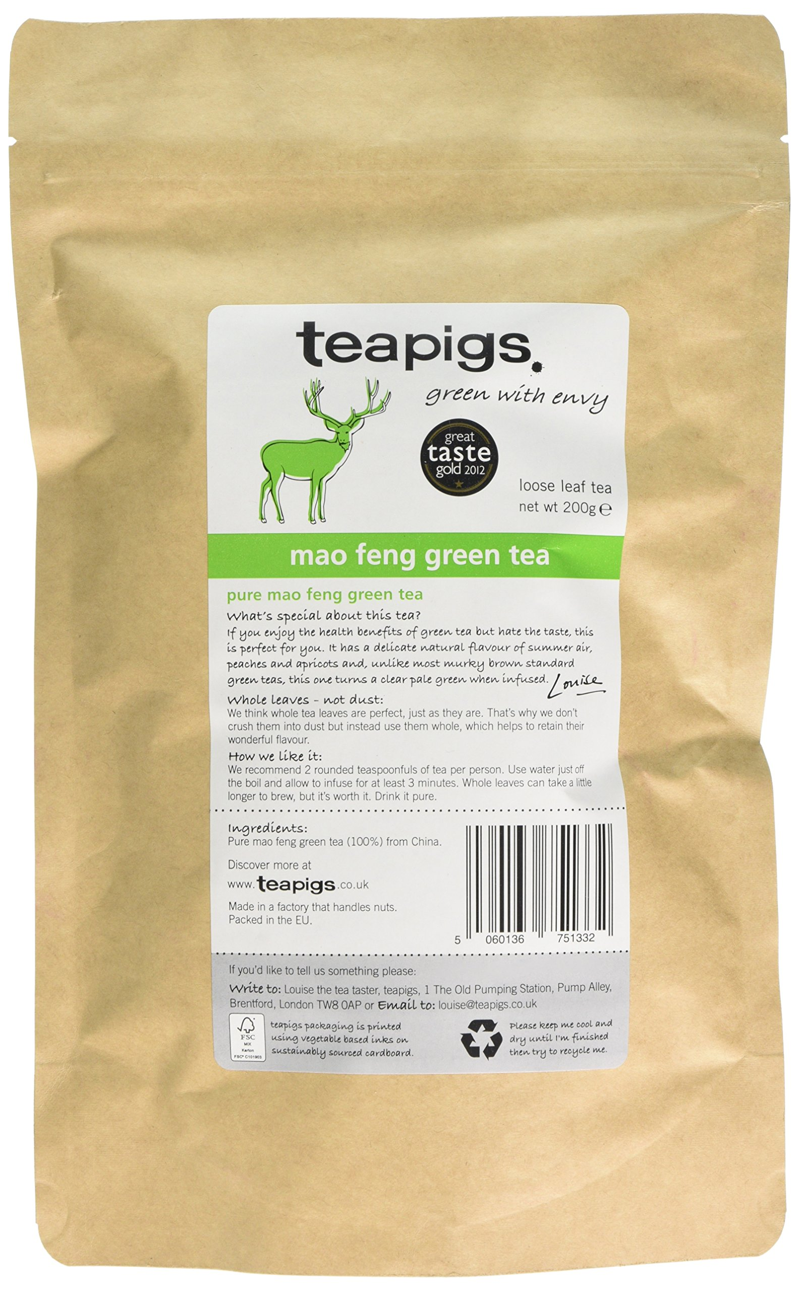 Teapigs mao feng green tea (green tea) (200g) (a fruity tea with aromas of apricots, peach) (brews in 3 minutes)