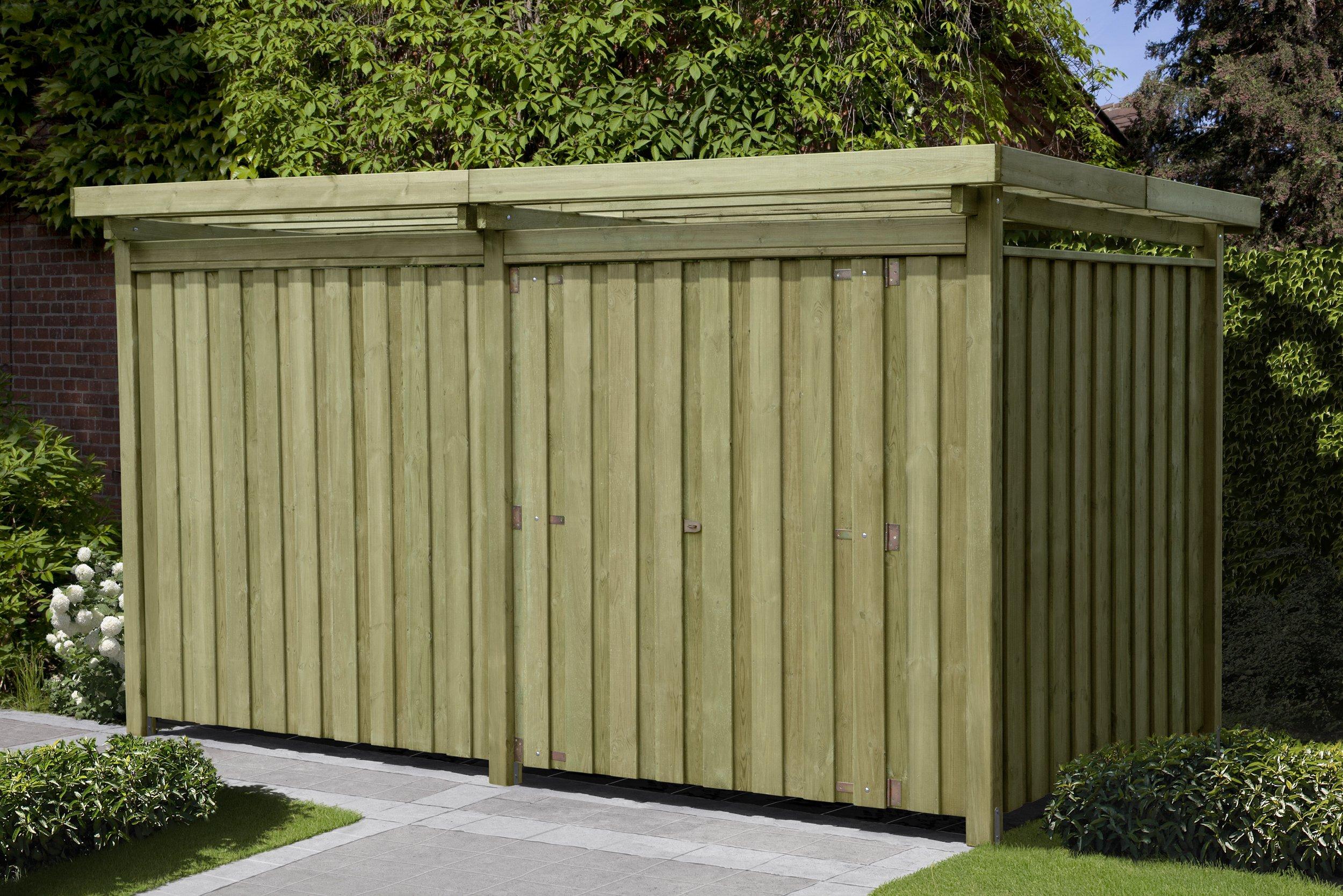 Gartenpirat Gerätehaus Holz mit Flachdach Typ-3 Gartenhaus Maße 387 x 224 cm