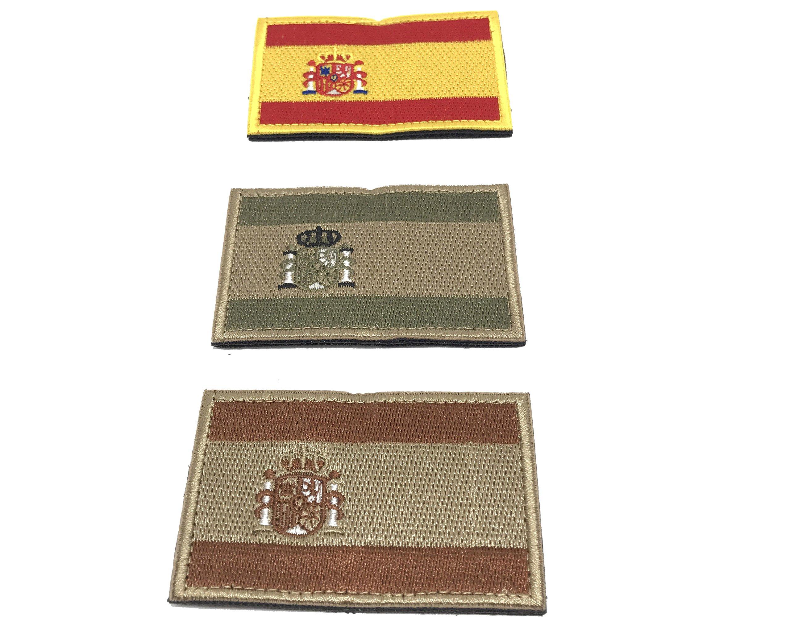 Kit 3 x Parches España Velcro x España Bandera Táctico bandera con velcro podría ser pegado a la ropa, chaleco, gorra, mochila Directamente