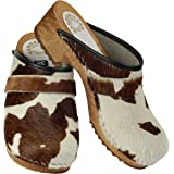 Handewitter Clogs Clogs - Zoccoli aperti in pelle di mucca, marrone/bianco