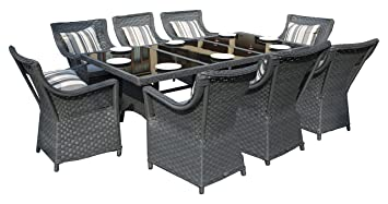 Yakoe Rectangle Rattan Dining Table With 8 Chairs Furniture Set Outdoor  Garden Conservatory Patio Dining Set Part 87