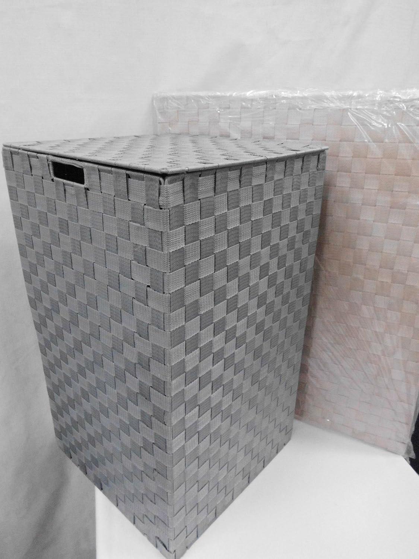 Portabiancheria con coperchio, in polyester intrecciato (Beige ...