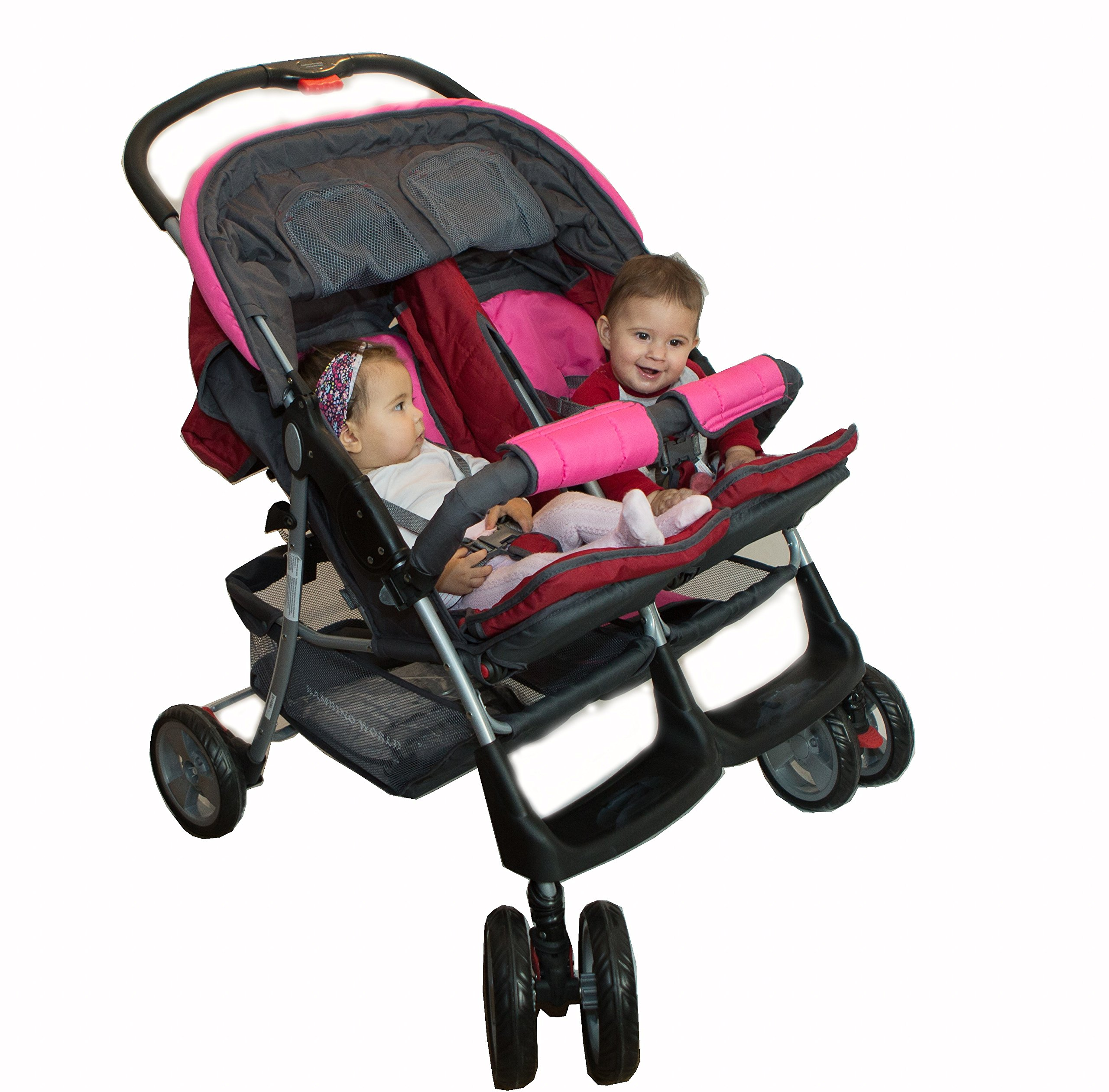 Deluxe Tandem - Twin Pram rose - BambinoWorld Bambino World Ideal pram for parents of twins or children with small difference in age.Thus you remain mobile also with 2 babies or infants. Main features: Very compact and light ; Adjustable backrest ; Foot rests adjustable ; Easy folding . 100% safety for your child : 5-point safety harness ; Brake on rear wheels ; Lockable swivel front wheels ; Complies with strict European norms . 1