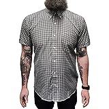 Relco Mens Short Sleeve Gingham Mod Shirt