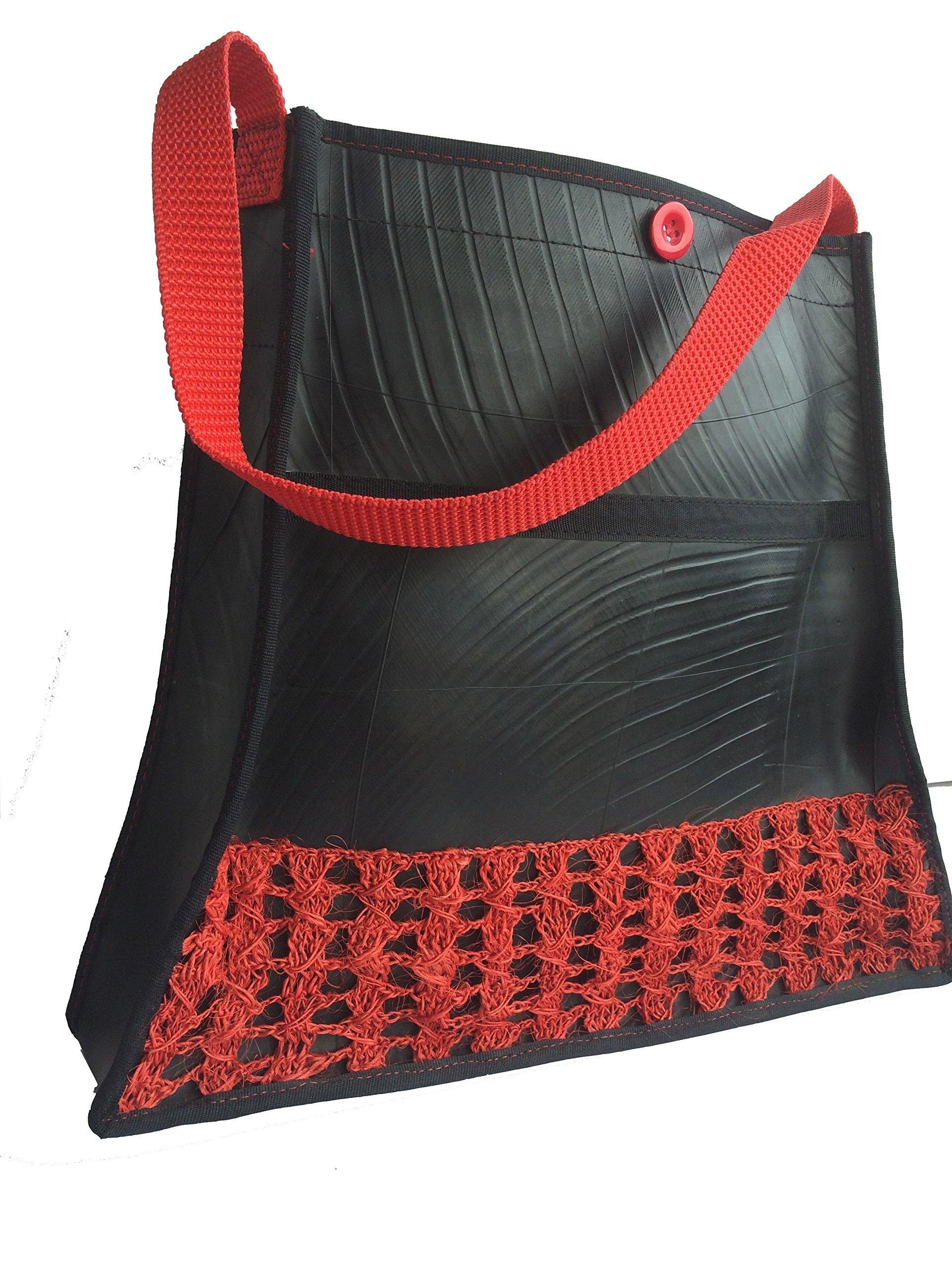 Recycled Rubber Tote handbag Iraka Crochet - handmade-bags