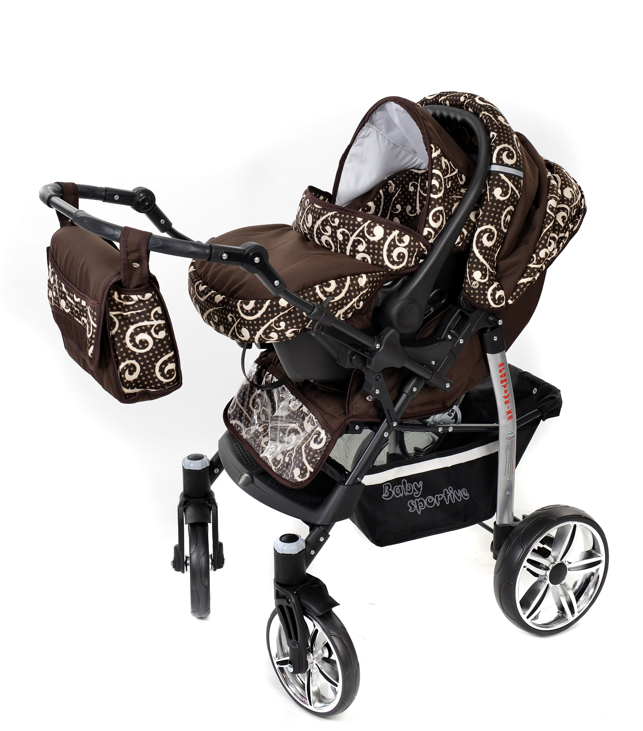 Sportive X2, 3-in-1 Travel System incl. Baby Pram with Swivel Wheels, Car Seat, Pushchair & Accessories (3-in-1 Travel System, Brown & Wawy Lines)  3 in 1 Travel System All in One Set - Pram, Car Carrier Seat and Sport Buggy + Accessories: carrier bag, rain protection, mosquito net, changing mat, removable bottle holder and removable tray for your child's bits and pieces Suitable from birth, Easy Quick Folding System; Large storage basket; Turnable handle bar that allows to face or rear the drive direction; Quick release rear wheels for easy cleaning after muddy walks Front lockable 360o swivel wheels for manoeuvrability , Small sized when folded, fits into many small car trunks, Carry-cot with a removable hood, Reflective elements for better visibility 6