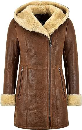 Smart Range Leather Giacca da Donna in Pelle di Montone Giacca Lunga Vintage in Rame Shearling con Cappuccio B3 NV-39