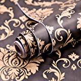 Wolpin Wall Stickers DIY Wallpaper (45 x 500 cm) Black Damask Luxury Self Adhesive Decals Living Room Bedroom Decoration, Bla