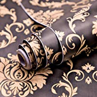 Wolpin Wall Stickers DIY Wallpaper (45 x 500 cm) Black Damask Luxury Self Adhesive Decals Living Room Bedroom Decoration…