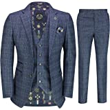 Mens Tweed Check Navy Grey 3 Piece Suit Vintage 1920s Smart Retro Tailored Fit